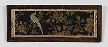 ANTIQUE ASIAN NEEDLEWORK - Embroidery picturing a bird perched on a branch, on a black ground. Condition good; minor fading and wrin...
