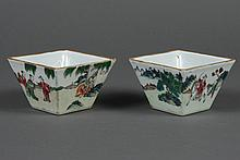 PAIR CHINESE PORCELAIN SQUARE BOWLS - Painted scene portrays several travelers arriving at their destination and being greeted by th...