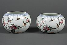 PAIR CHINESE PORCELAIN FAMILLE ROSE BRUSH POTS - Round form decorated with a flowering tree peony and songbirds. Calligraphy and sea...