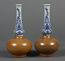 PAIR OF CHINESE PORCELAIN GOURD VASES - Having a bulbous base glazed with brown stippling and elongated B/W neck. Apparently unmarke...