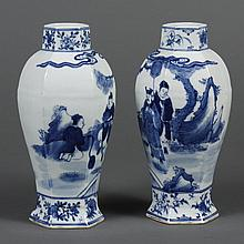 PAIR CHINESE PORCELAIN B/W VASES - Hexagonal shape showing a dignitary, attendants and kneeling subject in a