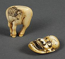TWO CARVED IVORY NETSUKE; HORSE AND KABUKI MASK - Standing horse with head turned left; not signed. Kabuki theatre mask; signed. Con...