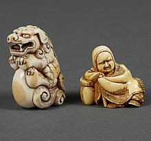 TWO CARVED IVORY NETSUKE - A seated man wrapped in a textured cloak and resting his elbow on a covered basket; Fu Dog with a big bel...