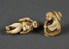 TWO CARVED IVORY NETSUKE - One shows a figure holding castanets and possibly a flute. The second figure is shown traveling on a leaf...