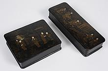 TWO 19TH CENTURY CHINESE BLACK LACQUER BOXES - Chinoiserie style decorated with figures and gilt. Hinged. Unmarked. Condition fair;...