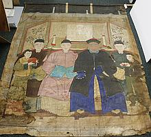 19TH CENTURY CHINESE ANCESTOR PAINTING - Ink and gouache on fabric, the painting shows seated figures with attendants and screen in...