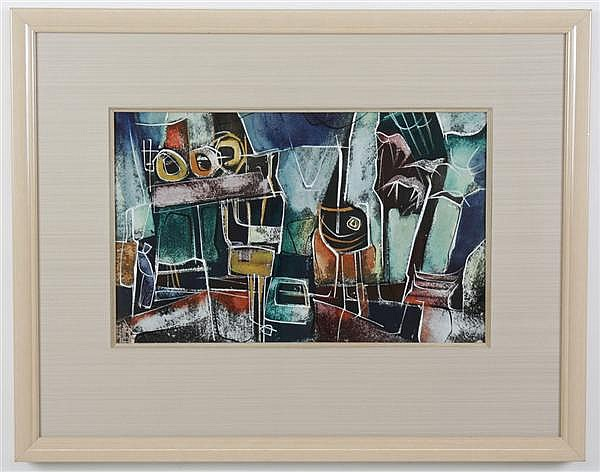 WALTER HOOK (1919-1989, MT) WATERCOLOR ON PAPER WITH LETTER - Signed mixed-media, gouache and watercolor, multicolored, abstracted s...
