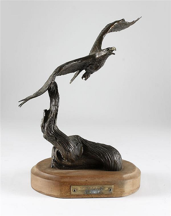 CARL WAGNER BRONZE - Signed eagle in flight sculpture titled