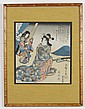ICHIRYUSAI HIROSHIGE (UTAGAWA HIROSHIGE) (1797-1858, Japan) WOODBLOCK ON PAPER - Print is marked with seal of artist and depicts a s...