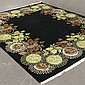 CARPET: HAND-KNOTTED NEPALI - Wool on cotton warp carpet with black field having a large-scale stylized floral design border. Condit...