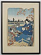 UTAGAWA KUNISADA (1786-1864, Japan) WOODBLOCK ON PAPER - With toshidama cartouche; shows women with instruments seated under a maple...