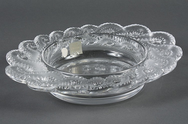 LALIQUE CRYSTAL BOWL - Signed shallow bowl with braided, scalloped edge. Condition good; two repaired chips on inner edge. 2th centu...