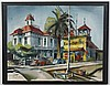 HARRY BONATH (1903-1976, WA) PAINTING - Watercolor on paper, signed at lower left. California street scene with storefronts and cars...