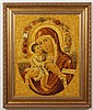 ICON: MADONNA AND CHILD - Composed completely of amber. From a private collection of 14 works by same masters who reconstructed the ...