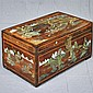 LIFT-TOP TRUNK - Antique pine with brass hardware and polychrome decorations. Condition good. Early 20th century. 15.5