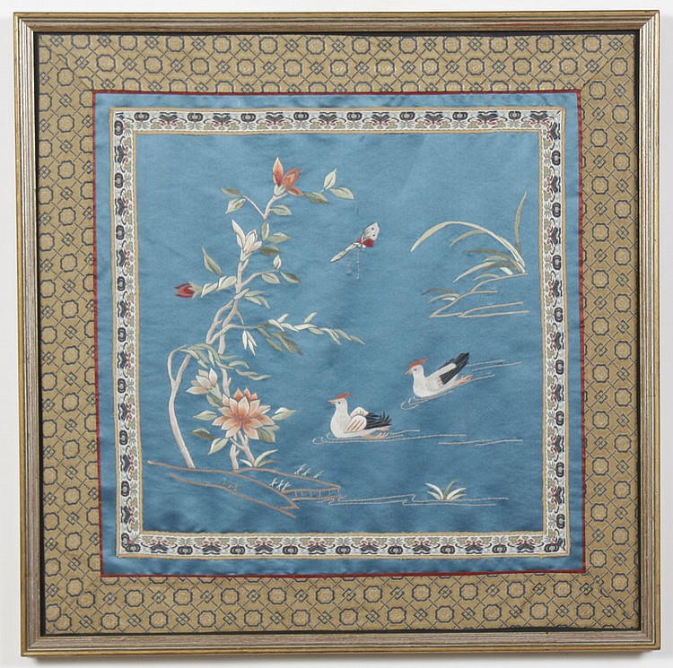 CHINESE EMBROIDERY - Needlework done on fabric, depicting ducks in a pond with flowers. Condition good. Early to mid-20th century. 1...