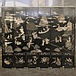SIX-PANEL FOLDING SCREEN - Chinese black lacquer with relief-carved and polychrome decorated rural scenes bordered with stylized dra...