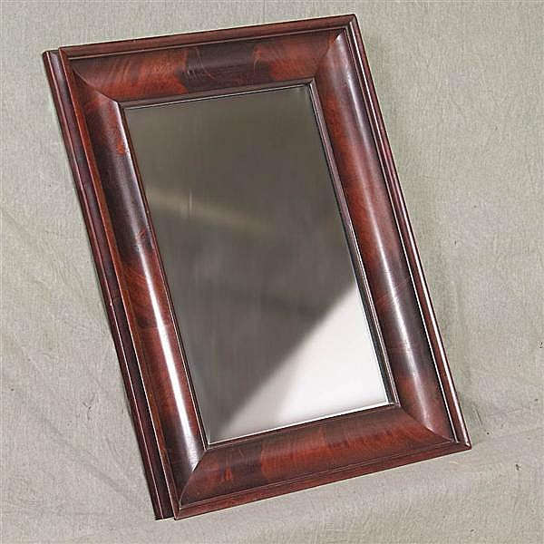 WALL MIRROR - Antique American with rectangular flat plate