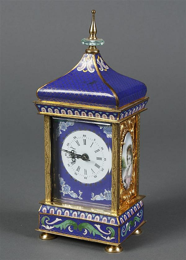 CHINESE CLOISONNE MANTEL CLOCK - Chinese version of a European enameled clock. Condition good, no damage noted. 20th century. Marked...