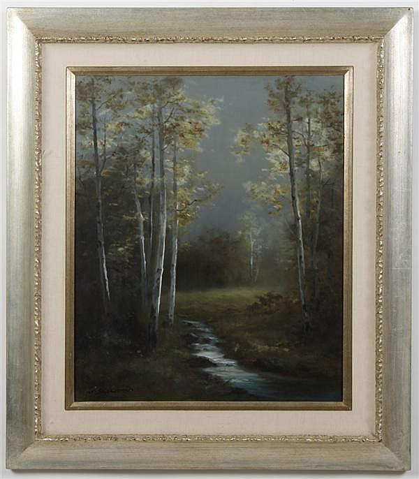 **UPDATED** MIHATO SHIMIZU (1905-1986, CA) OIL ON CANVAS - Of small stream with trees in distance. Condition good. c.1970. 33