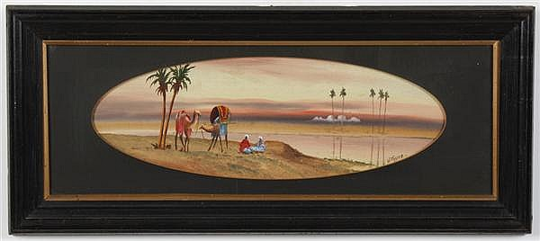 WILLIAM PAYNE (1790-1830, England) GOUACHE AND WATERCOLOR ON PAPER - Desert scene with figures, camels and palm trees. Condition goo...