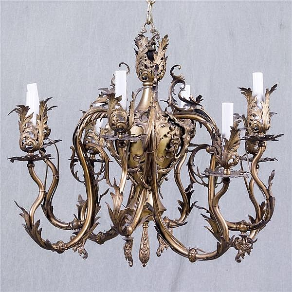 EIGHT ARM CHANDELIER AND TWO MATCHING WALL SCONCES - Antique Italian bronze ormolu electrified gas fixture with eight lights