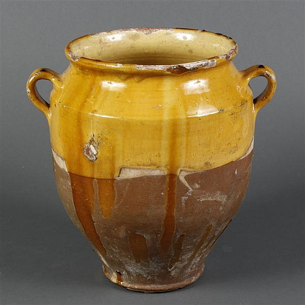 FRENCH GARGOULETTE POT DE CONFIT - In traditional yellow ochre glaze over russet slip. The pot has double handles and glazed interio...