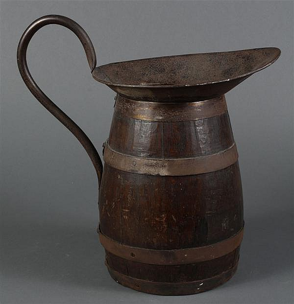 FRENCH WOOD AND METAL PITCHER - Rustic French wood and metal pitcher originally used for wine. Condition good, commensurate with age...