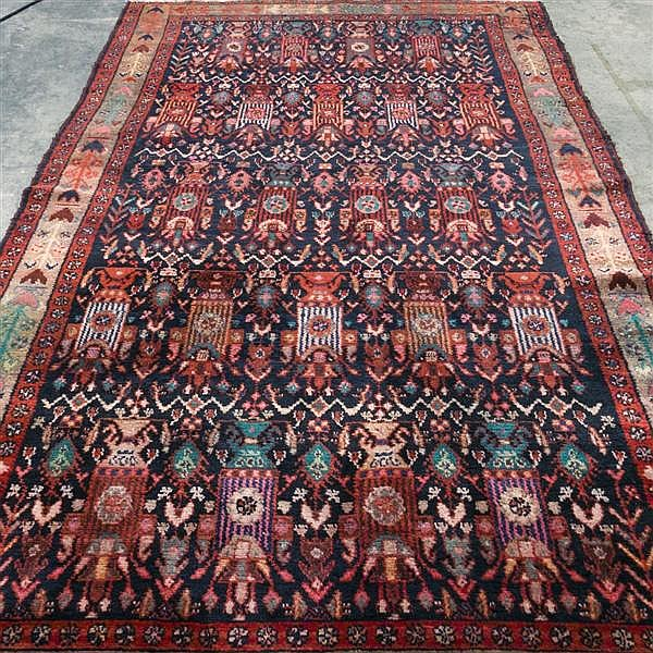 CARPET: HAND-KNOTTED HAMADAN CORRIDOR CARPET - Wool on a cotton warp with black field
