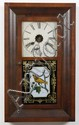 NEW HAVEN THIRTY HOUR CLOCK - New Haven shelf clock with mahogany veneered case and reverse on glass painted panel door. Marked