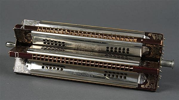 M. HOHNER TREMOLO SEXTET HARMONICA - Professional model sextet harmonica with original box. The harmonicas are marked with key tabs...