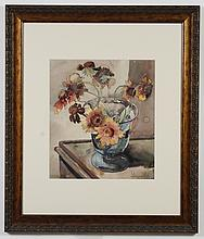 PAUL IMMEL (1896-1964, WA) WATERCOLOR ON PAPER - Signed at lower right. A floral still life painting, showing flowers in a glass vas...