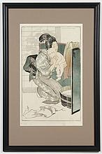 HELEN HYDE (1868-1919, CA/Japan) WOODBLOCK ON PAPER - Pencil signed, lower right, and pencil titled and dated, lower margin. Titled...