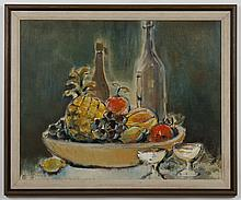 JUDY ODELL (WA) OIL ON CANVAS - Signed at lower right, this still life painting pictures a pineapple, grapes and wine bottles on a t...