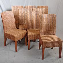 SET EIGHT DINING CHAIRS - Contemporary fruitwood with full-wrap woven rattan backs and seats. Condition good. Late 20th century. 38