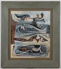 VIRGINIA BANKS (1920-1985, WA) MIXED MEDIA GOUACHE ON PAPER - Painting of various lizards, titled