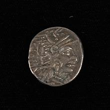 ANCIENT SILVER ROMAN COIN - Obv; Helmeted head of Roma right; Rev; Victory riding right . Approx 200-100 BC. Condition as seen.