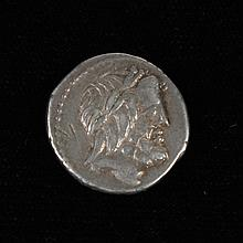 ANCIENT SILVER DENARIUS ROMAN COIN - 78 BC. Obv; Laureate head of Jupiter right with V-shaped mark right. Rev; M VOLTEI M F below te...
