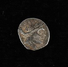 ANCIENT GREEK/ROMAN SILVER COIN - Rev; Possibly Athena in a boat. Text has been cut-off or is otherwise illegible. Condition as seen.