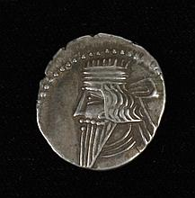 ANCIENT SILVER PARTHIAN ARCHER DRACHM COIN - From the Arsacid Dynasty, 247 BC - 244 AD. Obv: bearded, diademed bust of the King Arsa...