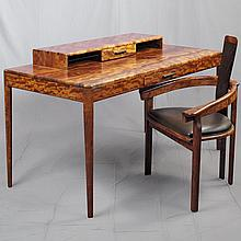ARTISAN DESK SUITE - Custom crafted unique edition of modern design executed in solid figured bubinga with contrasting accents of we...