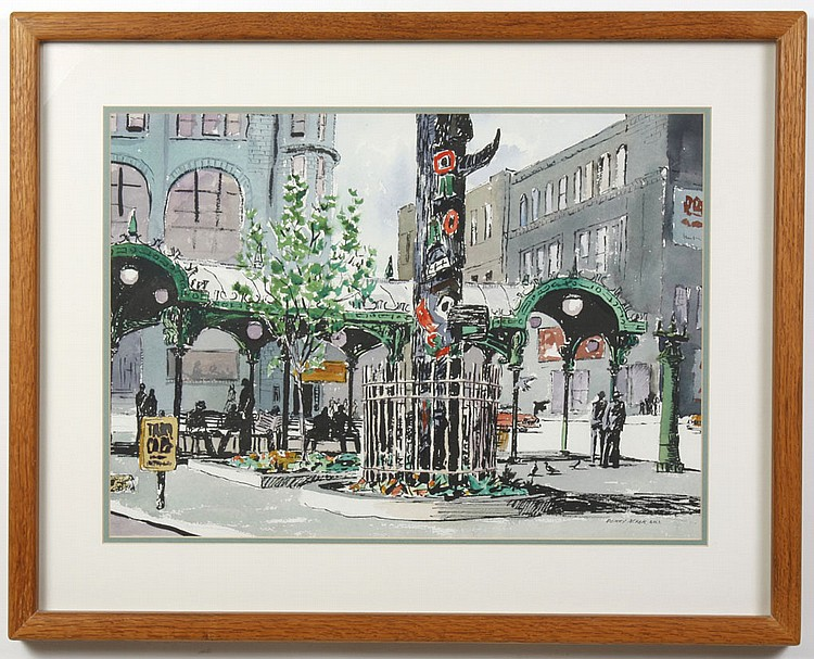 PERRY ACKER (1903-1989, WA) WATERCOLOR ON PAPER - Signed painting of Pioneer Square in Seattle, with the totem pole, the pergola, an...