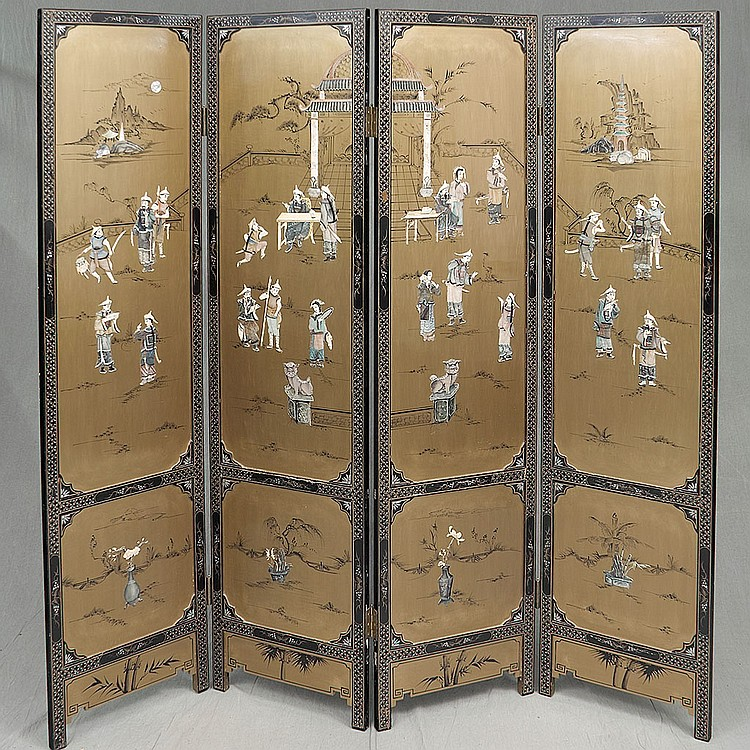 FOUR PANEL FOLDING SCREEN - Vintage Chinese black lacquer with applied mineral, bone and mother-of-pearl depictions of court life on...