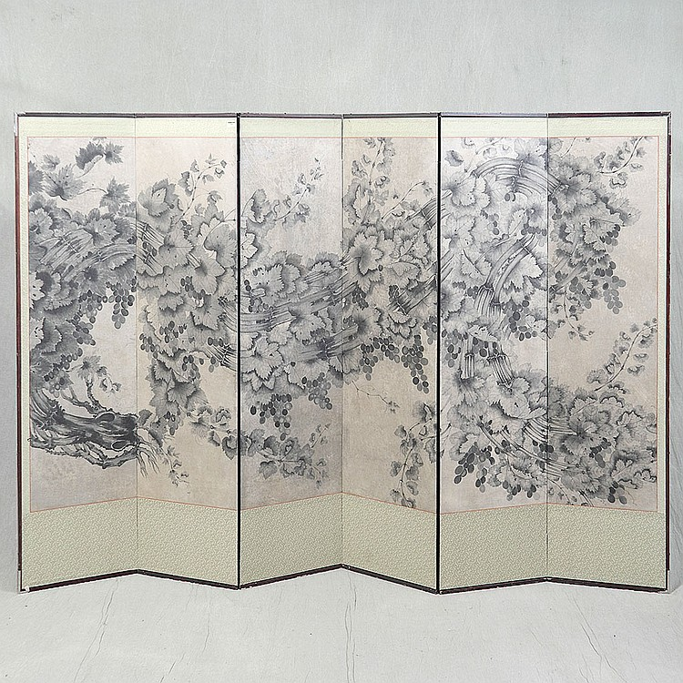 SIX PANEL FOLDING SCREEN - Antique Japanese with two-way reinforced paper hinges, ink on paper depiction of grape vines and leaves, ...