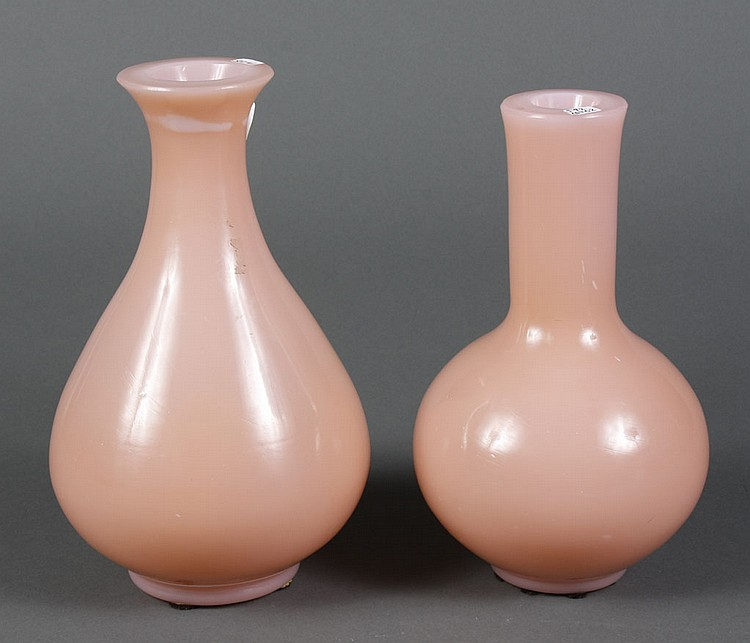 TWO PEKING GLASS VASES - Two rose colored Peking glass vases. Condition good. 10.25