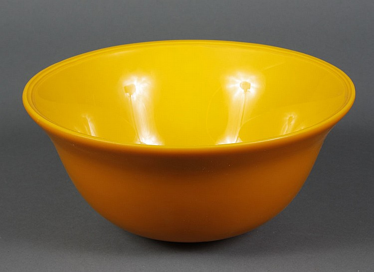 PEKING GLASS BOWL - Two tone yellow Peking glass bowl. Condition good. 5.5