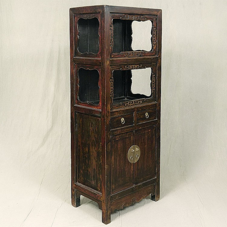 TALL ETAGERE CABINET - Antique Chinese elm with two upper display areas with stylized scroll decorations, two storage drawers and do...