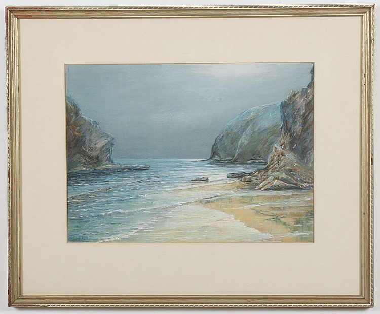 PASTEL ON PAPER - Signed J.W Hull ocean and beach scene. Condition good. Mid 20th century. 19