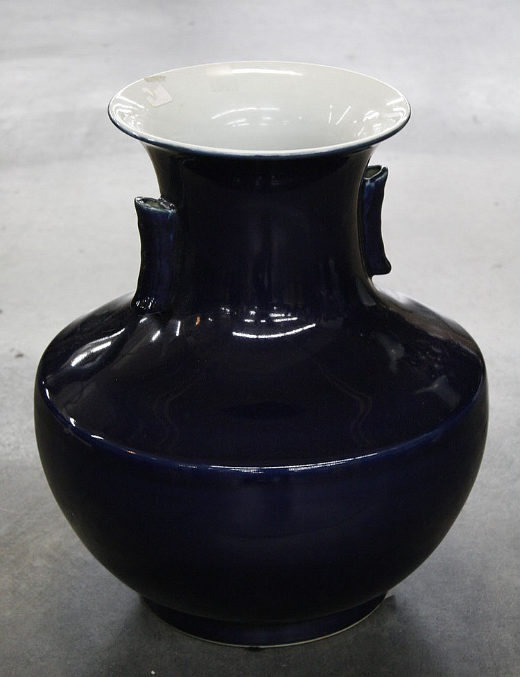 CHINESE COBALT BLUE VASE - Chinese cobalt blue porcelain vase with handles. Condition good. 15