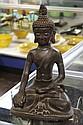 CAST METAL SEATED BUDDHA - Buddha with snail shell hair in Abhaya mudra. Condition good. 15.5